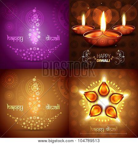 vector set of diwali background illustration with beautiful diya placed on rangoli design