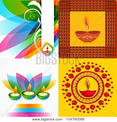 vector collection  of beautiful background of diwali illustration with colorful diya and leaf