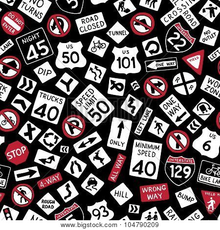 Seamless Pattern Of Doodles American Traffic Signs.