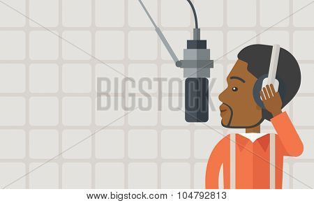 Cheerful African American radio DJ with headphone and microphone vector flat design illustration. Horizontal layout with a text space.