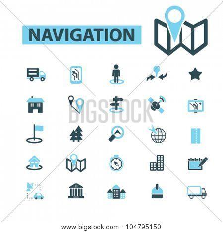 navigation, logistics icons
