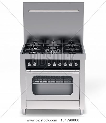 Modern Steel Gas Stove And Oven Isolated On White
