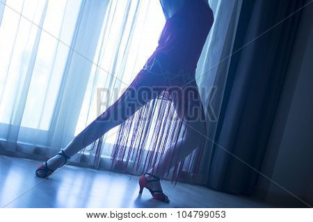 Slim Female Ballroom Dance Teacher Dancer Long Legs