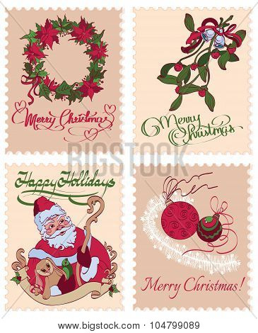 Vector Vintage Christmas Stamps Mistletoe Wreath Greetings Seamless Pattern