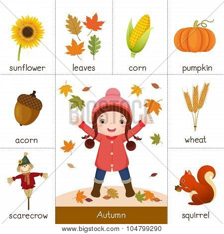 Printable Flash Card For Autumn And Little Girl Playing With Autumn Leaves