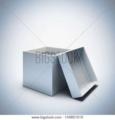 A 3d render illustration blank template layout of empty white opened gift box. Empty copy space to place your text, object or logo.