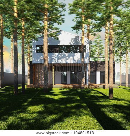 A 3d render illustration of contemporary minimalist house placed between pines.