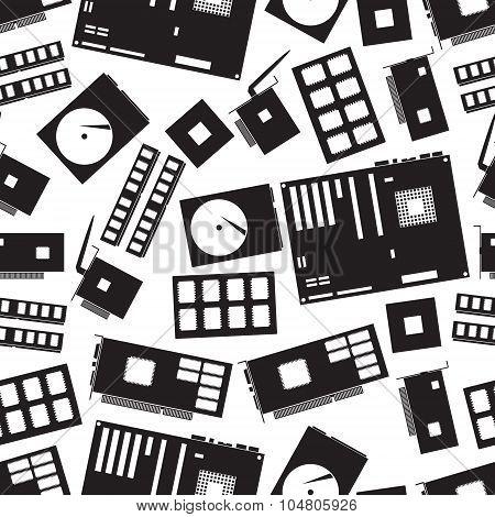 internal desktop computer components seamless pattern eps10 poster