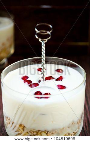 Healhty breakfast with oatmeal, greek yogurt and pomegranate