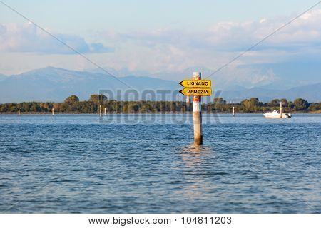 Boat Sign In The Lagoon Of Grado. Friuli Venezia Giulia, Italy