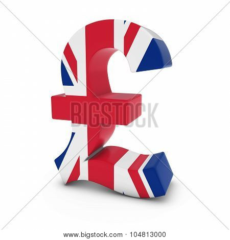 Pound Symbol Textured With The United Kingdom Flag Isolated On White Background