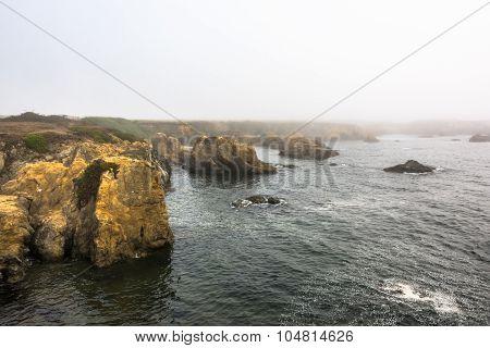 Fort Bragg, the coast in the fog, California