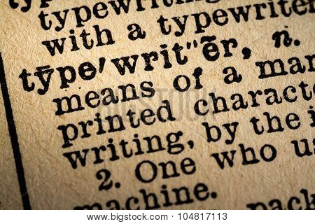 Close-up Of The Word Typewriter And Its Definition