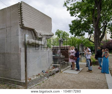 Tomb of Oscar Wilde in Pere Lachaise Cemetery