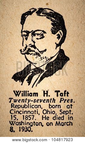 William Howard Taft The 17Th President Of The United State Of America Drawing And Little Historical