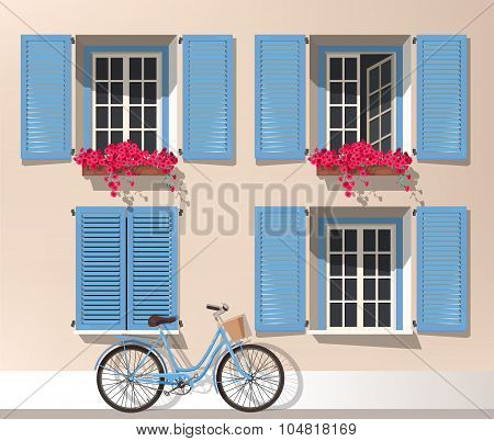 Windows and bicycle