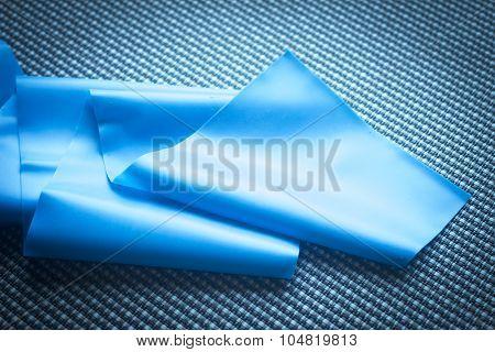 Pilates stretching yoga flexibility postural rubber band posture blue flexible strap health club poster