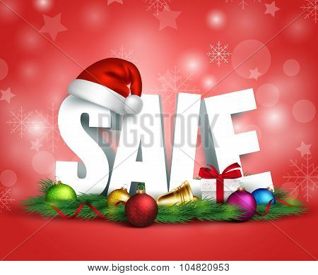 3D Christmas Sale Text for Promotion with a Christmas Hat