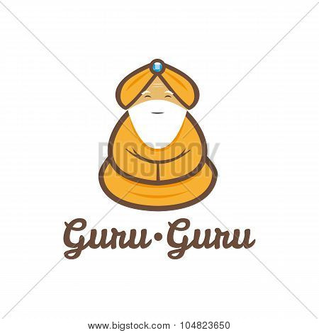 Vector modern minimalistic meditating guru logo