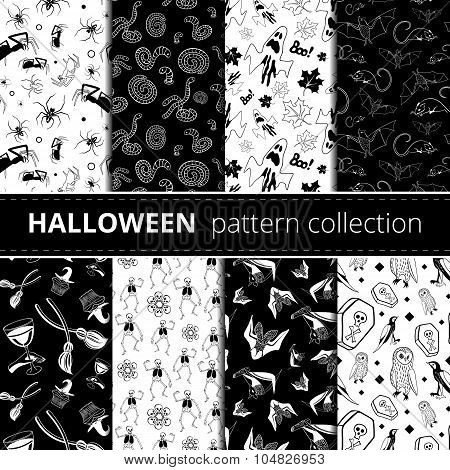 Halloween symbols vector pattern collection