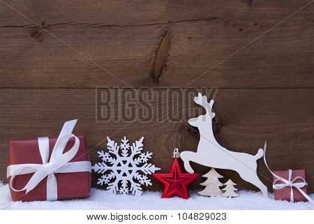 Red Christmas Decoration, Snow, Snowflake, Reindeer And Gift