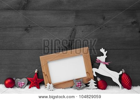 Gray Christmas Card With Red Decoration On Snow, Copy Space