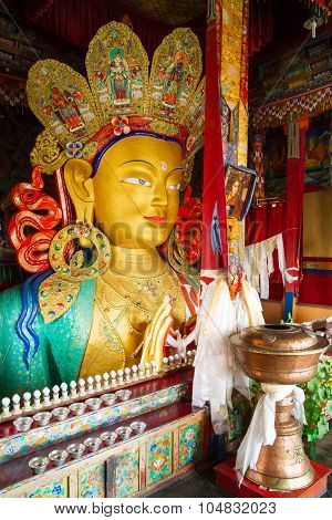 Upper part of the Giant statue of Maitreya Buddha (the largest such statue in Ladakh covering two stories of the building) in the Thikse Monastery near Leh (Ladakh Jammu and Kashmir north India)