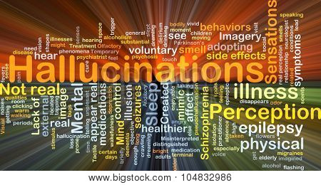 Background concept wordcloud illustration of hallucination glowing light