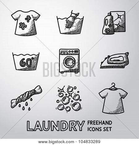 Set of freehand Laundry icons with - clean and dirty shirts, hand washing, washing mashine, iron, bl
