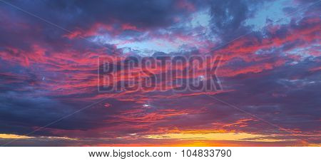 Fantastic Play Of Colors And Shades Of Violet, Scarlet Cloudy Sky At Sunset