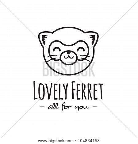 Vector funny cartoon polecat head logo. Line stle ferret logotype.