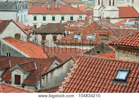 Bird eye view of buildings in Kotor old town Montenegro Balkans poster