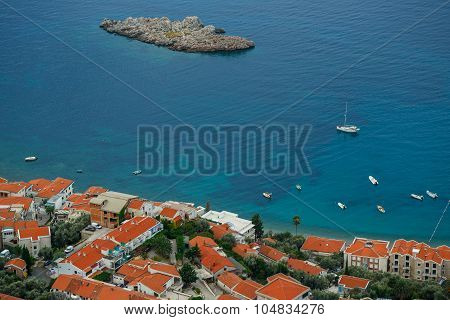 The picturesque panorama of the Adriatic coast near the town Sveti Stefan Montenegro Balkans poster