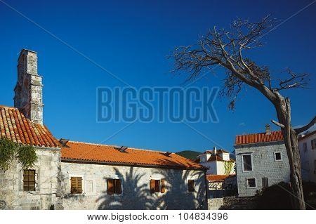 Panorama of Budva streets Old town. Montenegro Balkans poster