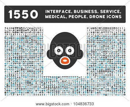 Baby Head Icon and More Interface, Business, Medical, People, Awards Vector Symbols
