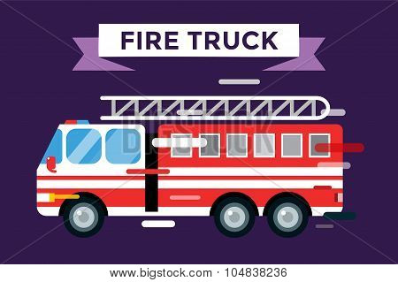 Fire truck car isolated vector cartoon silhouette