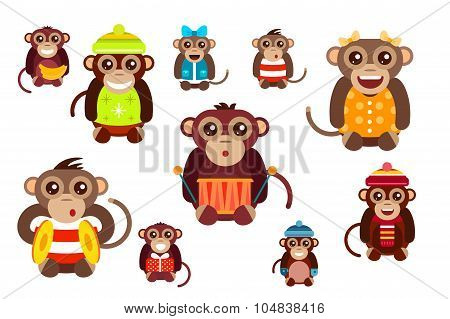 Happy cartoon vector monkey dancing party birthday background