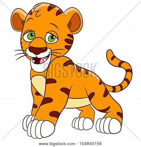 cute and shy tiger cub is smiling poster