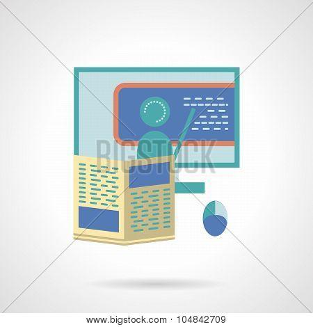 Online tutoring flat vector icon