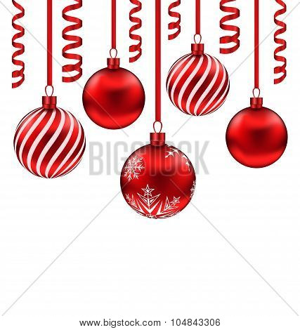 Set red glass balls with serpentine for Merry Christmas, isolate