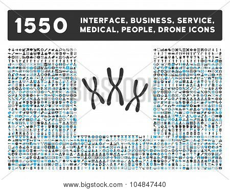 Chromosomes Icon and More Interface, Business, Medical, People, Awards Vector Symbols