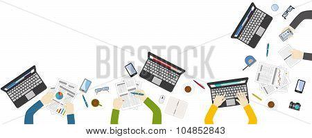 Teamwork For Office Desk - Vektor Flat Style
