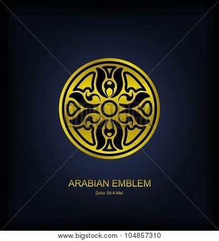 Golden Emblem with Arabian Traditional Ornament