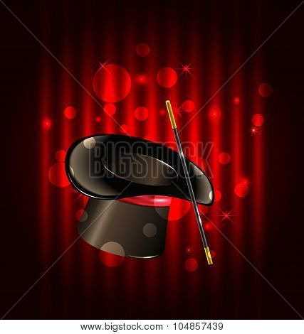 Magic background with top hat and wand