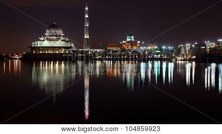 Reflection of Putra Mosque & JPM at night