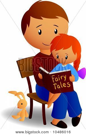 Dad and his daughter read tales