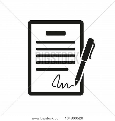 The contract icon. Agreement and signature, pact, accord, convention symbol. Flat Vector illustration poster