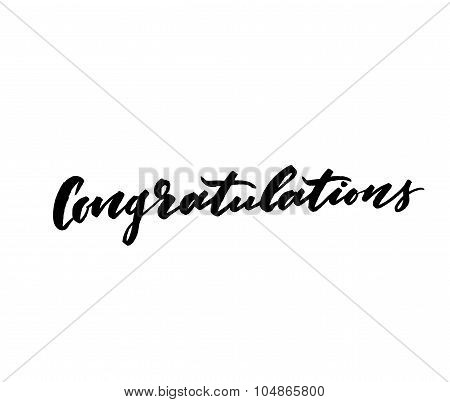 Congratulations. Modern brush lettering. Modern calligraphy congrats