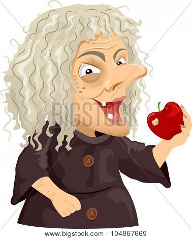 Illustration of a Scary Old Hag Holding a Shiny Apple