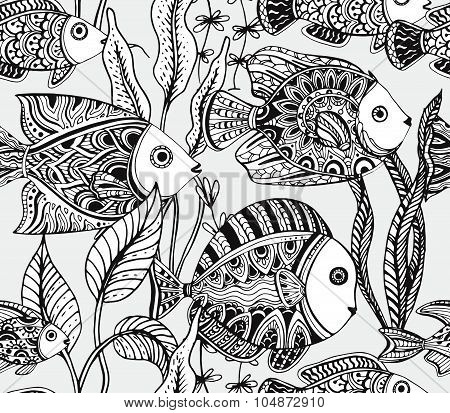Vector Monochrome Seamless Sea Pattern With Tropical Fishes